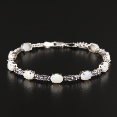14K Opal and Tanzanite Link Bracelet