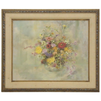 Phyllis Milos Floral Still Life Oil Painting, Late 20th Century