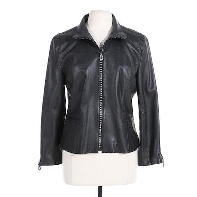 Christine Alexander Rhinestone Accented Black Leather Jacket