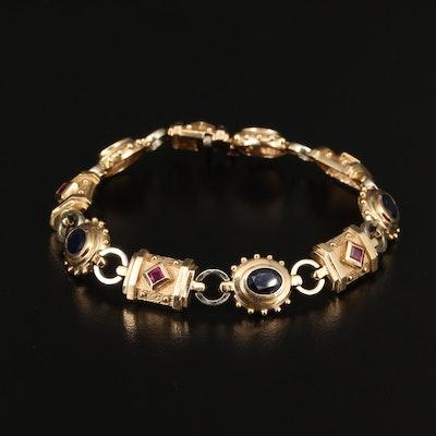 14K Sapphire and Ruby Bracelet