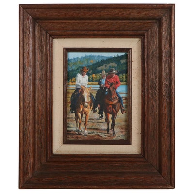 Annabel Gross Oil Painting of Horseback Riders, Late 20th Century