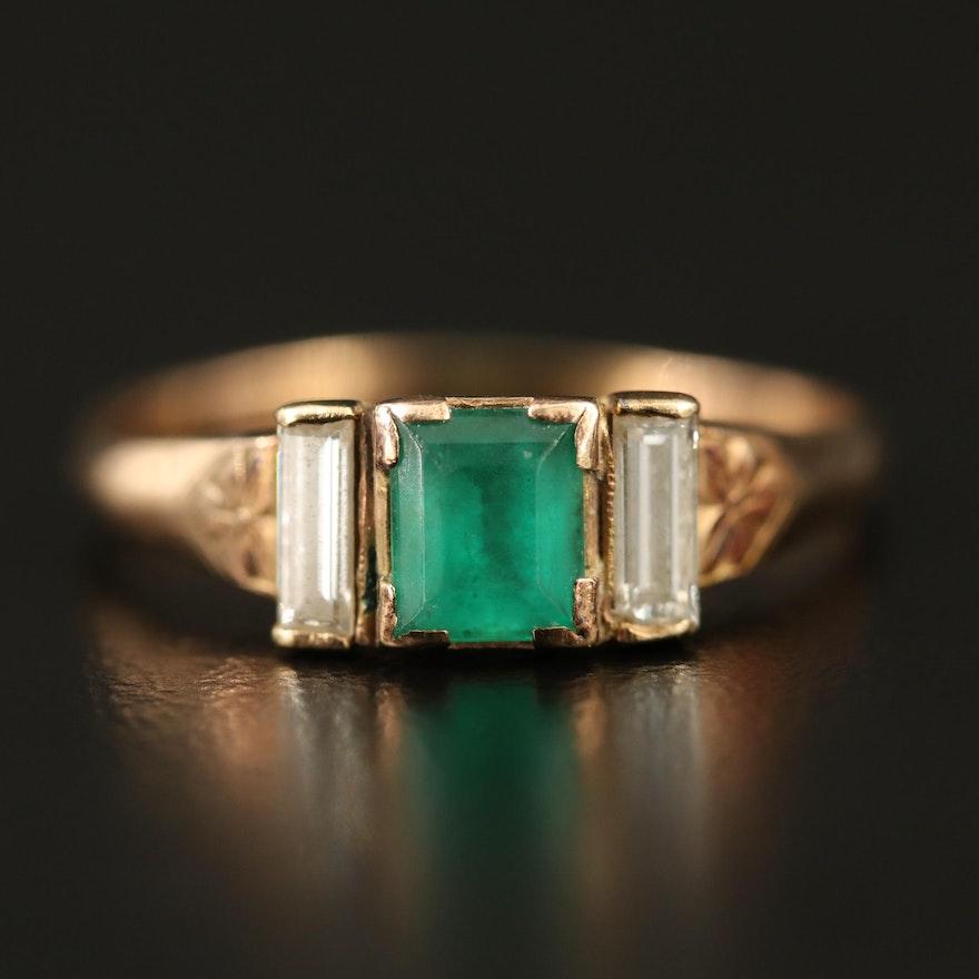 Vintage 10K Emerald and Diamond Ring