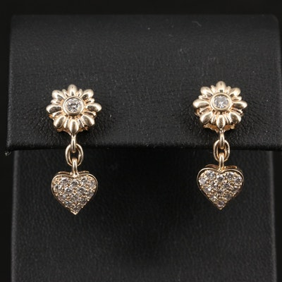 14K Diamond Flower and Heart Dangle Earrings
