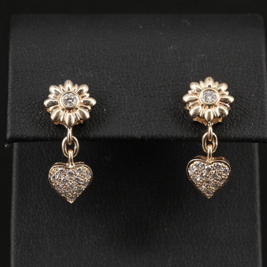 14K Diamond Flower and Heart Dangle Earrings