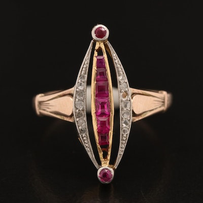 Art Deco 10K Ruby and Diamond Ring