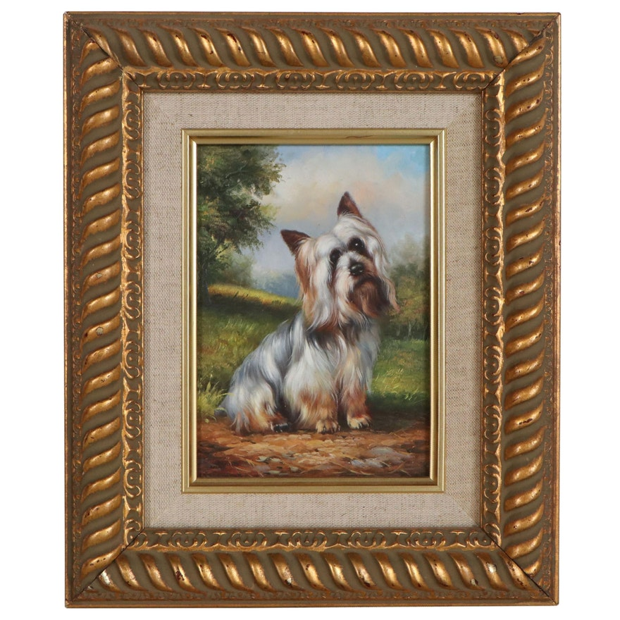 Yorkshire Terrier Portrait Oil Painting, Late 20th Century