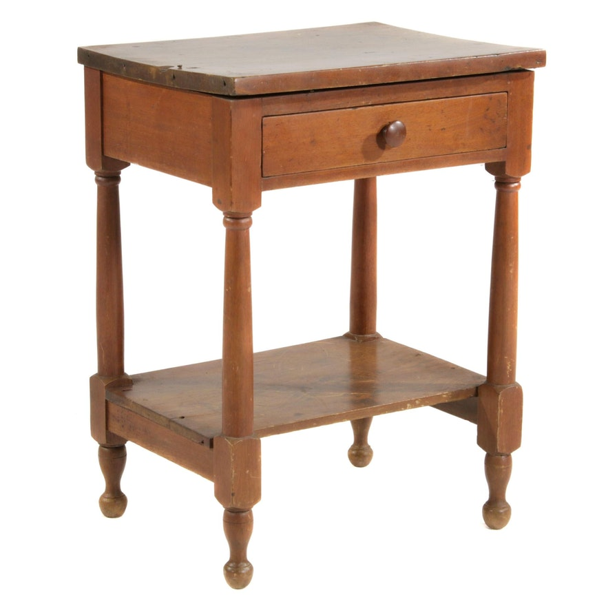 American Primitive Tiered Single-Drawer Wood Side Table, 19th Century