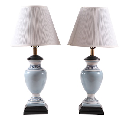 Pair of Quoizel Jar-Shaped Ceramic Table Lamps