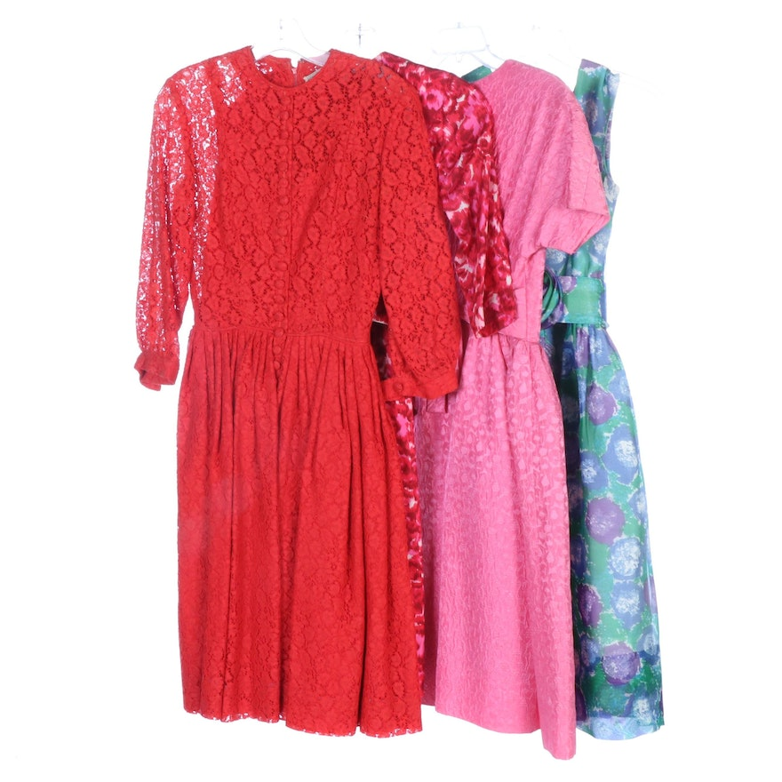 Suzy Perette New York Fitted Cocktail Dresses, Late 1950s Vintage