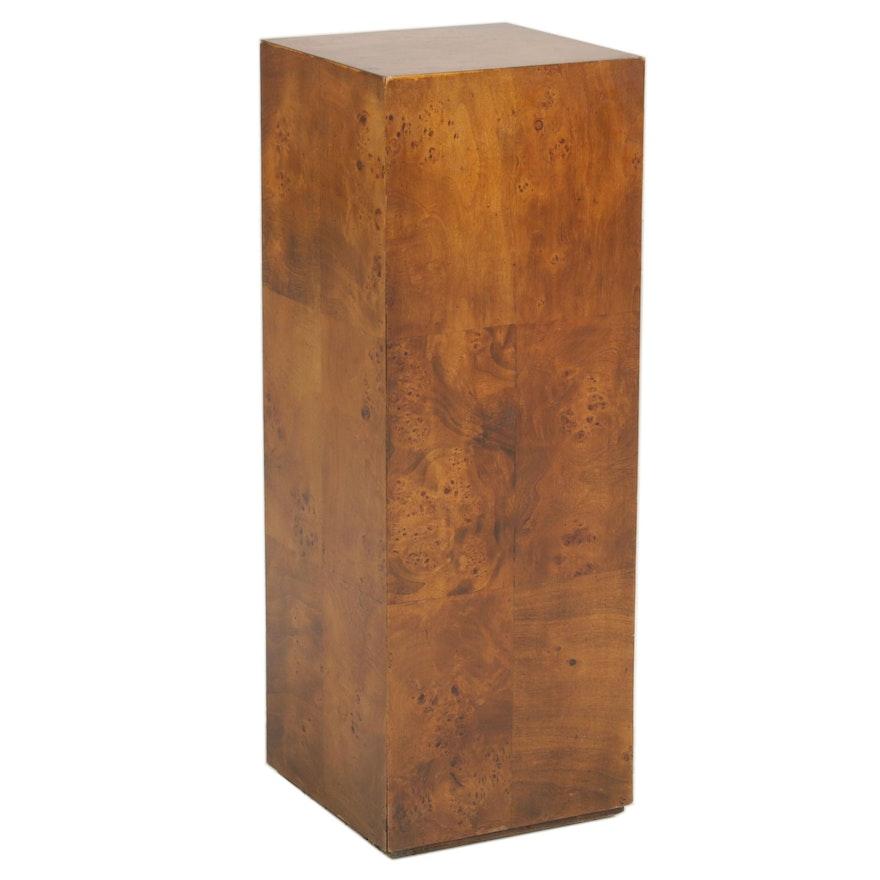 Burl Walnut Laminate Display Pedestal