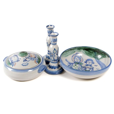 M.A. Hadley Stoneware Bowl, Covered Casserole, and Candlesticks