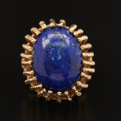 14K Lapis Lazuli Ring with Cable Motif Setting