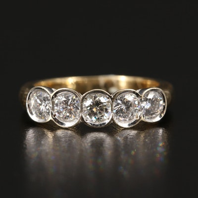 18K Two-Tone 1.00 CTW Diamond Five Stone Ring