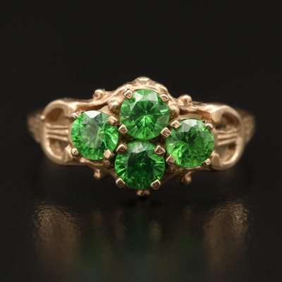 10K Green Cubic Zirconia Ring