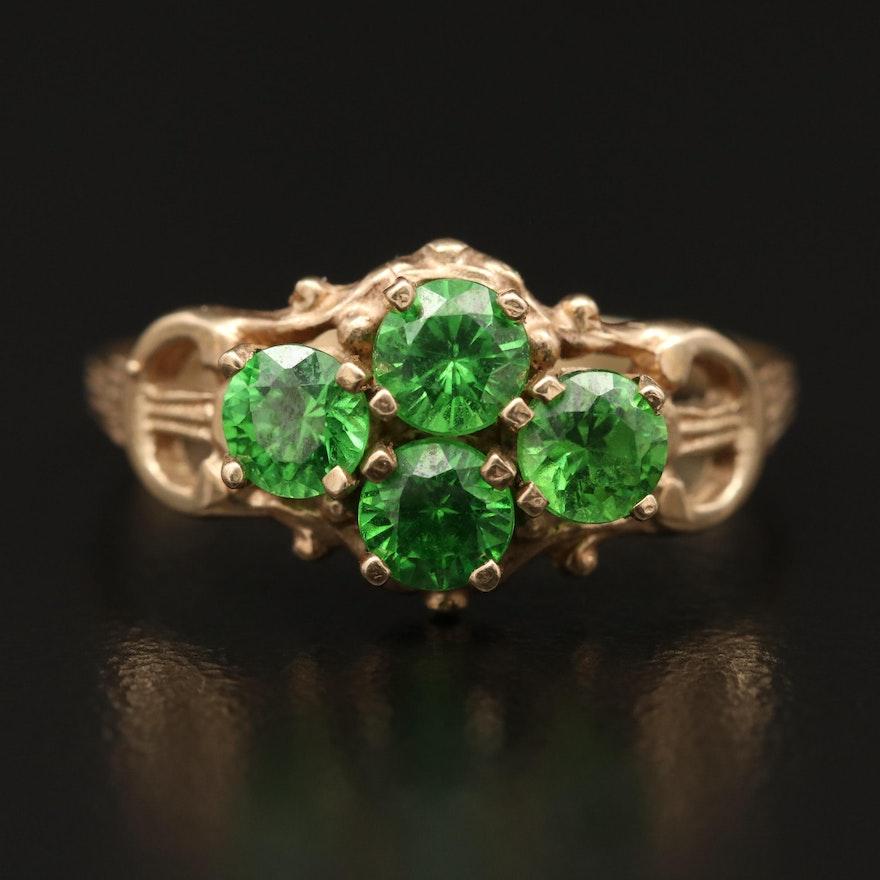10K Green Cubic Zirconia Ring