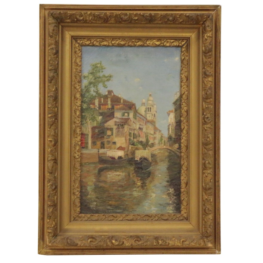 Oil Painting of Canal Scene, 1918