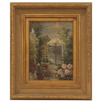 Garden Scene Oil Painting with Arbor, Mid 20th Century