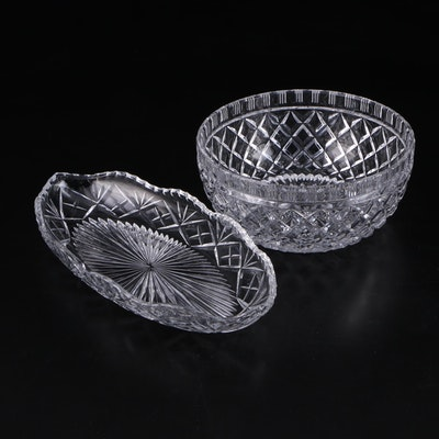 Pressed Glass Diamond Point Bowl with Other Glass Relish Dish