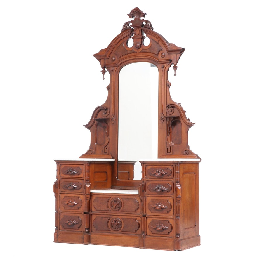 Mitchell & Rammelsberg Victorian Marble Top Walnut Vanity, Late 19th Century