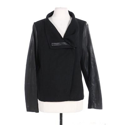 Vince Jacket in Black Wool and Leather