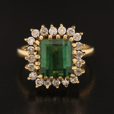 Vintage 18K Tourmaline and Diamond Ring