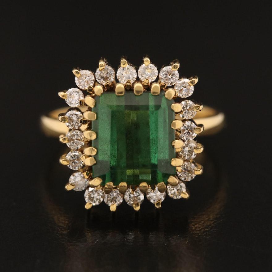 Vintage 18K Tourmaline and Diamond Ring
