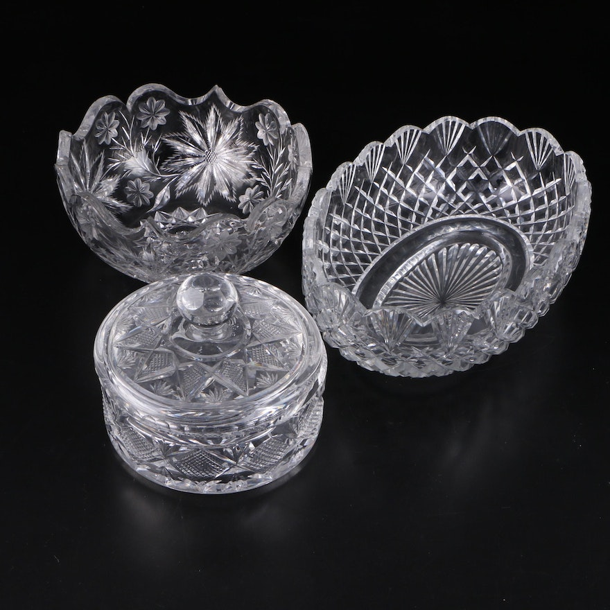 American Brilliant Cut Glass Oval and Round Bowls with Lidded Dish