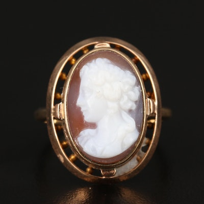 Vintage 14K Carved Sardonyx Cameo Ring