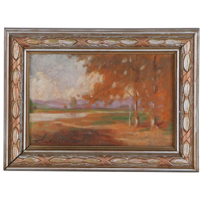 Thomas Jefferson Willison Autumn Landscape Oil Painting, Early 20th Century
