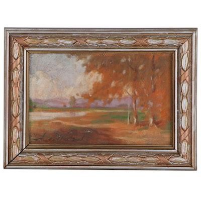 Thomas Jefferson Willison Autumn Landscape Oil Painting, Early 20th Century