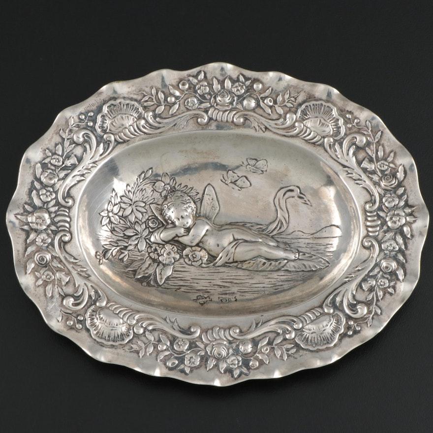 800 Silver Repoussé  Oval Dish, Antique