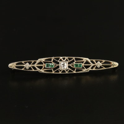 Art Deco Ostby & Barton 18K Diamond and Emerald Bar Brooch