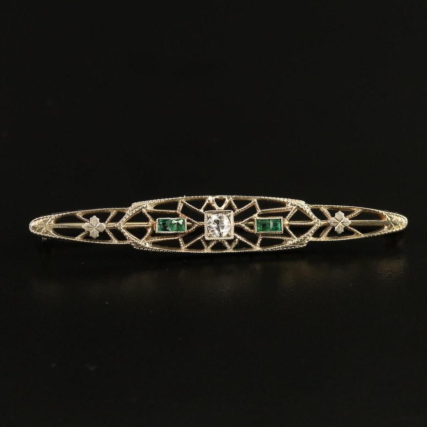 Art Deco Ostby & Barton 18K Diamond and Emerald Bar Brooch
