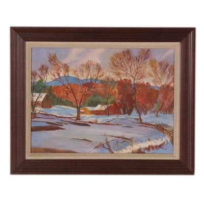 Oil Painting of Winter Scene with Buildings, Late 20th Century