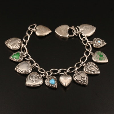 Circa 1940 Sterling Silver Glass and Enamel Sweetheart Charm Bracelet