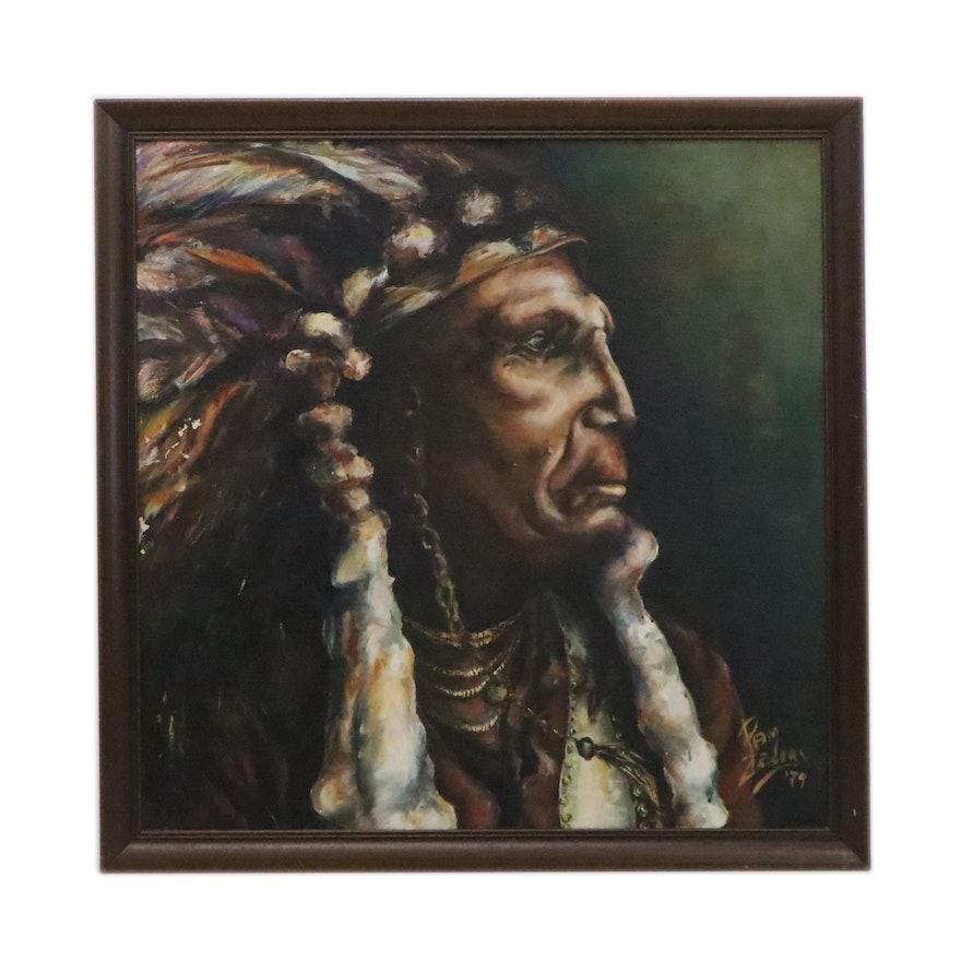 "Portrait Oil Painting ""Raven Blanket- Nez Percé"", 1979"
