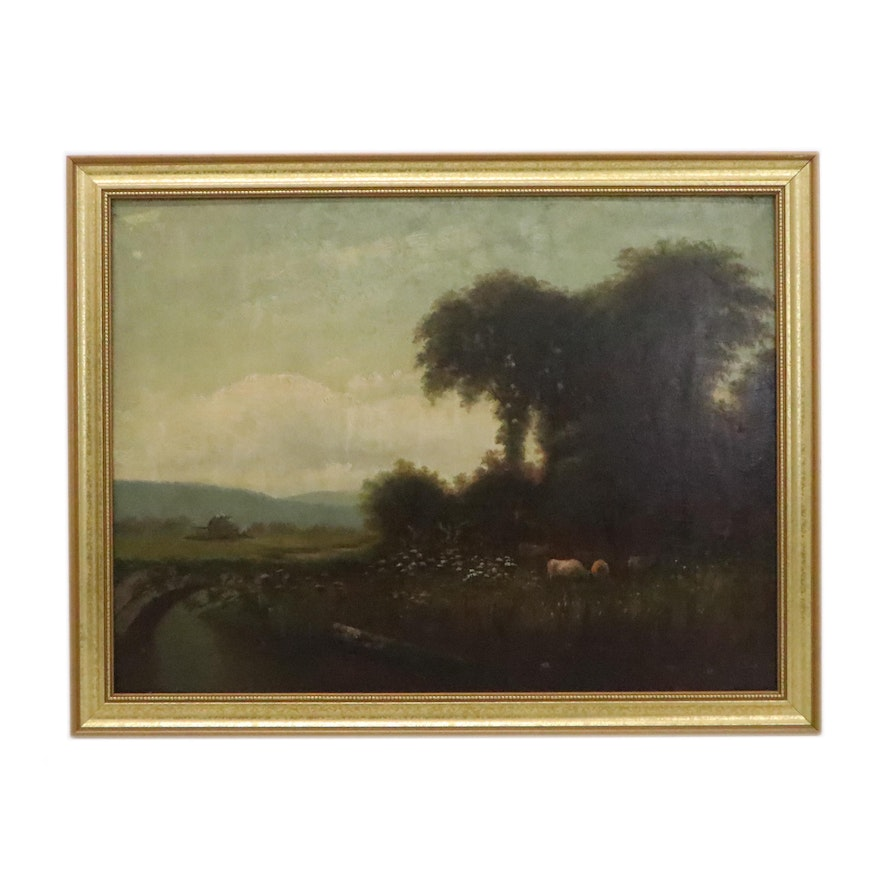 Pastoral Oil Painting with Cows, Early 20th Century