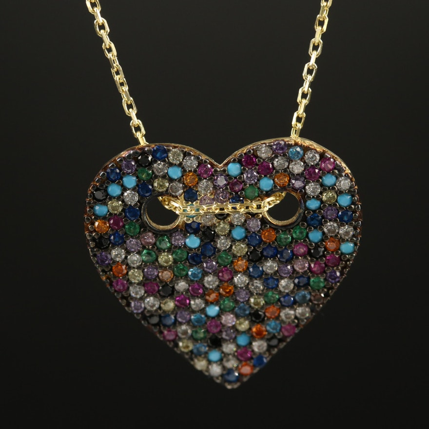 Sterling Ruby, Spinel and Cubic Zirconia Heart Pendant Necklace