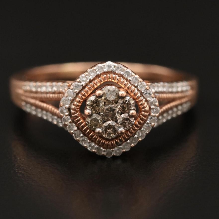 10K Rose Gold Diamond Split Shank Ring