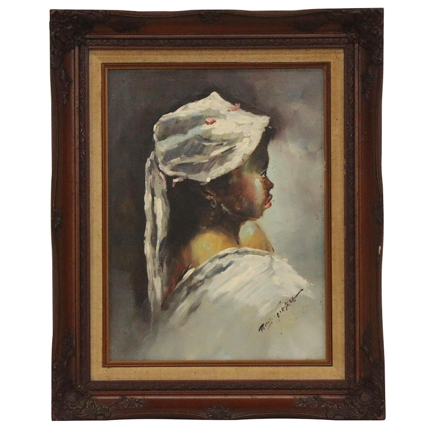 Roy Pierce Oil Painting of Young Girl in Bonnet, Late 20th Century