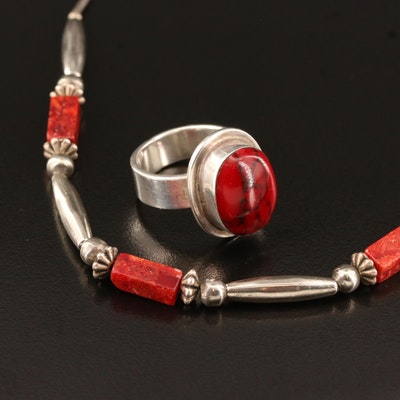 Coral Necklace with Mexican Sterling Glass Ring