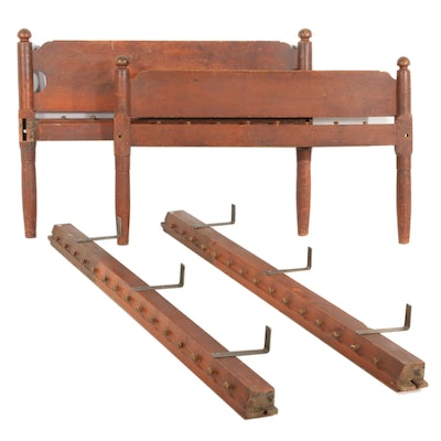 American Primitive Mahogany 3/4 Size Rope Bed with Added Brackets, 19th Century