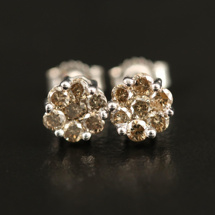 10K Diamond Cluster Stud Earrings
