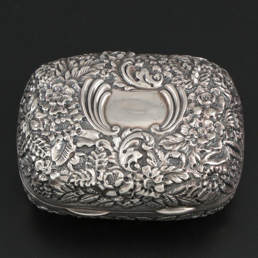 Galt & Bro. Repoussé Sterling Silver Box with Gold Wash Interior, Early 20th C.