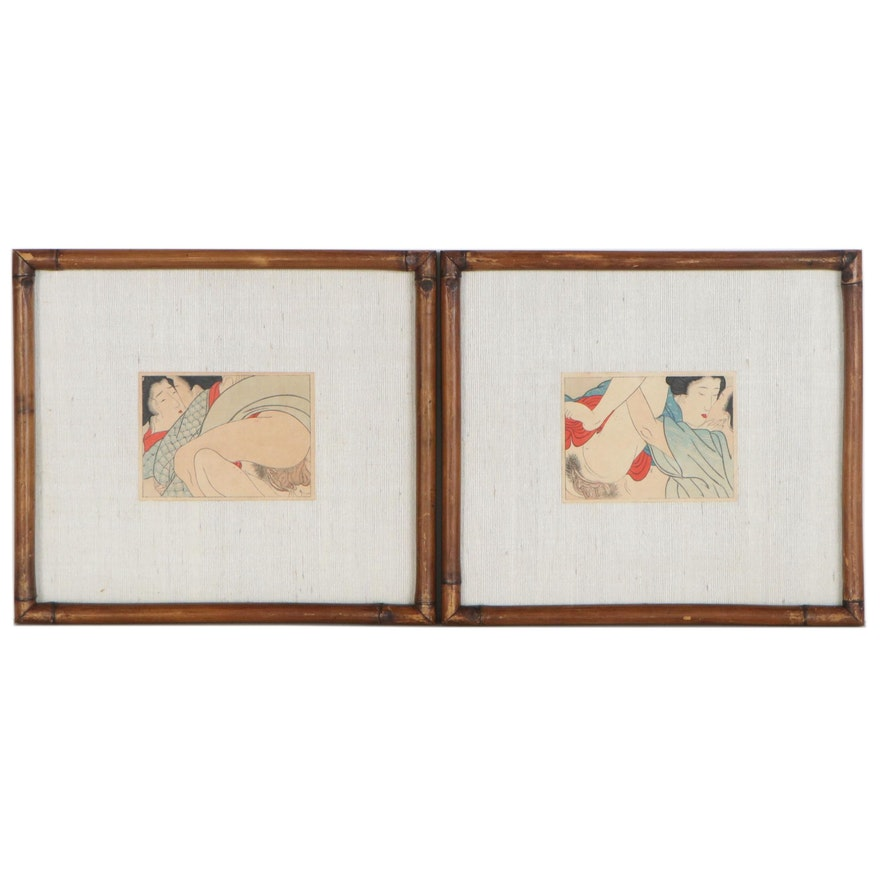 Japanese Erotic Shunga Woodblocks, Late 19th Century