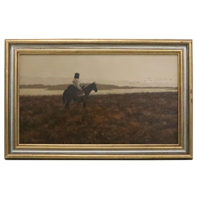 Oil Painting of Man on Horseback, Late 20th Century