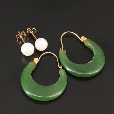 14K Nephrite Hoops and Pearl Stud Earrings