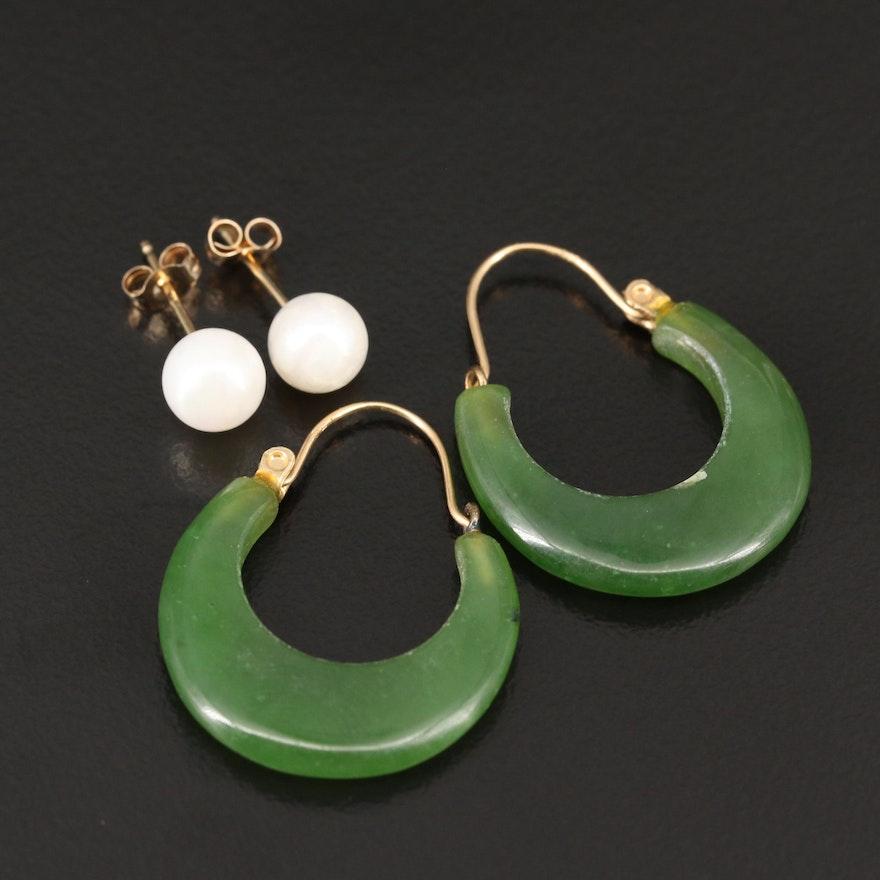14K Nephrite Hoops and Pearl Stud Earrings