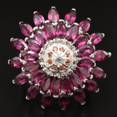 Sterling Rhodolite Garnet and Sapphire Cluster Ring