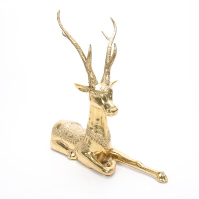 Hollywood Regency Style Brass Deer